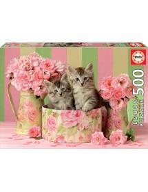 Puzzle 500 Peças - Gatinhos Com Rosas