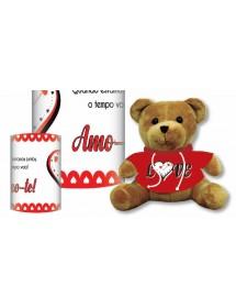 """Urso Camisola Vermelha """"Love"""" 15cm Com Caixa"""