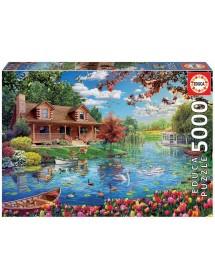 Puzzle 5000 Peças - Casinha no Lago