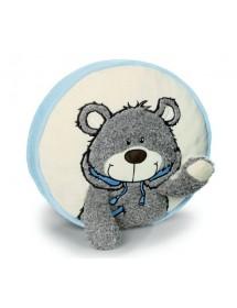 Almofada Redonda Urso com Cachecol Azul (35cm)