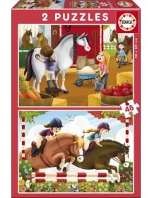 Puzzle Duplo 48 peças - Cuidar de Cavalos