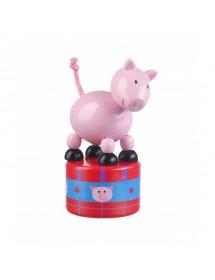 """Boneco Articulado de Madeira """"Push Up"""" - Porco"""