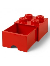 Caixa de Arrumação Com Gaveta Vermelha - 4 Brick