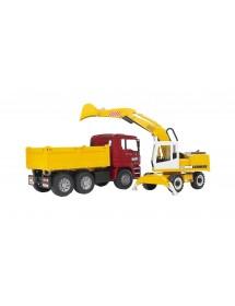 MAN TGA Camião de Construção Com Escavadora Liebherr