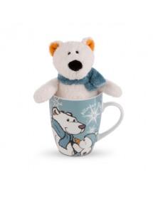 Conjunto de Caneca Com Peluche Urso Polar Bignic (15cm)