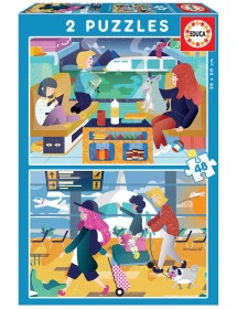 Puzzle Duplo - Aeroporto + Comboio