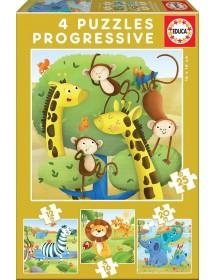 Puzzle 4 em 1 - Animais Selvagens