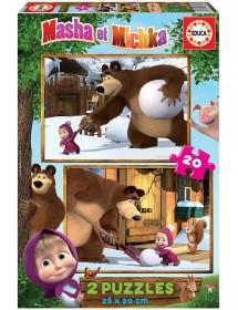Puzzle Duplo 20 Peças - Masha e o Urso